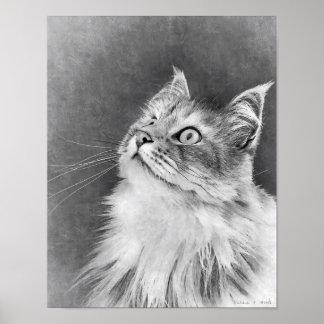Impressão do retrato do gato