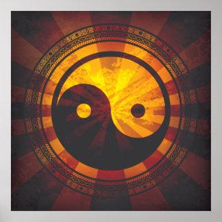 Impressão do símbolo de Yin Yang do vintage
