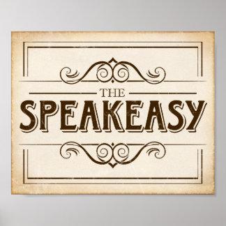 Impressão do sinal do SPEAKEASY do partido do