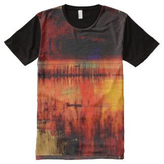 Impressão do teste padrão da arte abstracta por camisetas com impressão frontal completa