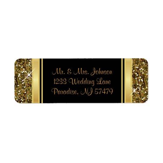 Impressão dos confetes do brilho do ouro etiqueta endereço de retorno