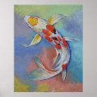 Impressão dos peixes de Koi da borboleta