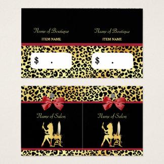 Impressão dourado do leopardo da coroa com o cartão de visitas