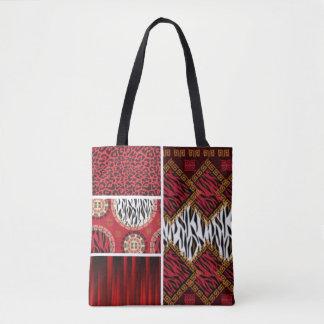 Impressão e colagem animais vermelhos dos padrões bolsa tote