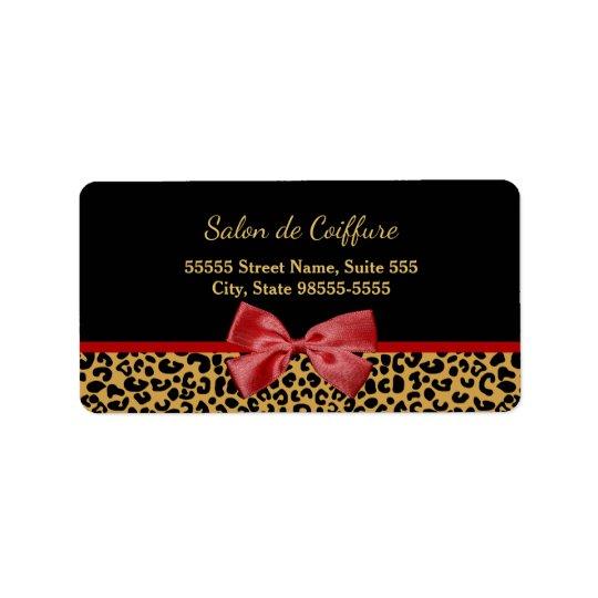 Impressão elegante do leopardo do ouro com o etiqueta de endereço