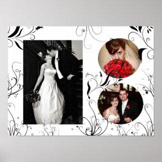 Impressão elegante do quadro da foto do casamento