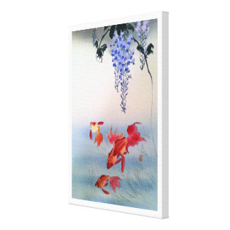 Impressão Em Canvas 金魚と藤, peixe dourado do 小原古邨 e glicínias, Ohara