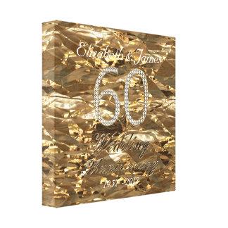 Impressão Em Canvas 60th Olhar do ouro do casamento de diamante do