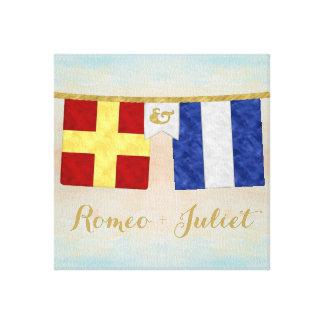 Impressão Em Canvas A aguarela acopla bandeiras de sinal marítimas do