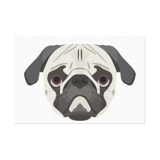Impressão Em Canvas A ilustração persegue o Pug da cara