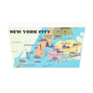 Impressão Em Canvas A Nova Iorque NY destaca o mapa