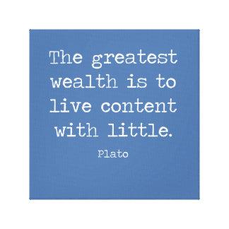 Impressão Em Canvas A satisfacção é riqueza. Umas citações por Plato