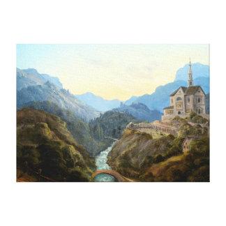 Impressão Em Canvas Abadia do rio da paisagem da montanha de Carl