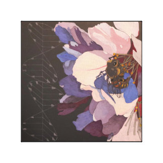 Impressão Em Canvas Abelha na flor da amêndoa com vetores da luz
