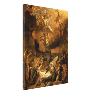 Impressão Em Canvas Adoração do Natal das belas artes dos pastores