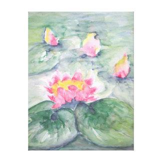 Impressão Em Canvas Água cor-de-rosa Lillies em bonito Pastel azul