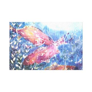 Impressão Em Canvas Aguarela da lagoa de Koi por Kathleen Gasparin