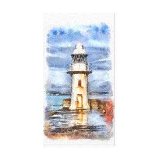 Impressão Em Canvas Aguarela icónica do farol de Brixham