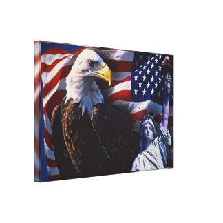 Impressão Em Canvas Águia americana uma estátua da liberdade uma