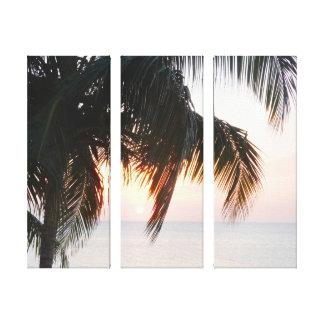 Impressão Em Canvas Ajuste de Sun sob a Caverna Jamaica da palmeira do