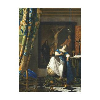 Impressão Em Canvas Alegoria de Johannes Vermeer da fé católica
