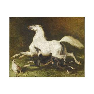 Impressão Em Canvas Alfred Dedreux: Cavalo e cão de galope