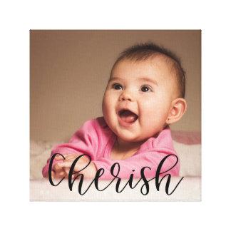 Impressão Em Canvas Ame a foto do bebê da folha de prova da caligrafia