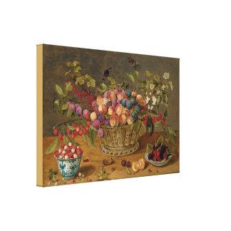 Impressão Em Canvas Ameixas, abricós, cerejas e corintos em uma cesta