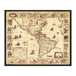 Impressão Em Canvas América, mapa de Noviter Delineata (1622)