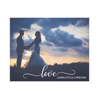 Impressão Em Canvas AMOR da lembrança da FOTO do casamento + Nomes