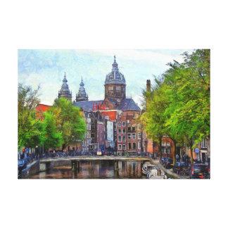 Impressão Em Canvas Amsterdão. Vista da igreja do santo Nicholas.