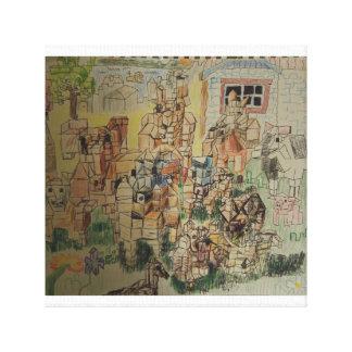 Impressão Em Canvas Animais do celeiro do Cubist