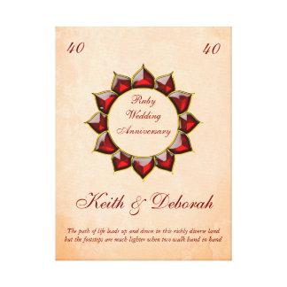 Impressão Em Canvas Aniversário de casamento customizável do rubi