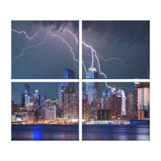 Impressão Em Canvas Arquitectura da cidade de New York na noite com