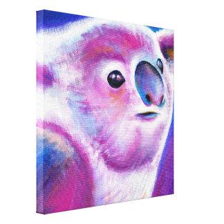 Impressão Em Canvas Arte animal da cara do Koala roxo brilhante