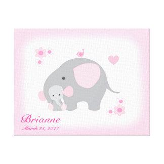 Impressão Em Canvas Arte cinzenta da parede do rosa do elefante do