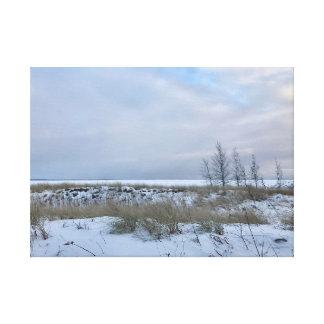 Impressão Em Canvas Arte da parede da paisagem da praia do inverno