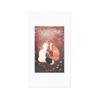 Impressão Em Canvas Arte do amor das raposas