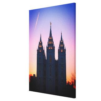 Impressão Em Canvas Arte do templo de Mormon de Salt Lake City, Utá