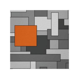 Impressão Em Canvas Arte geométrica do abstrato alaranjado do cinza