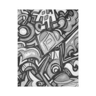 Impressão Em Canvas Arte lunática corajosa Funky do Forma-Abstrato do