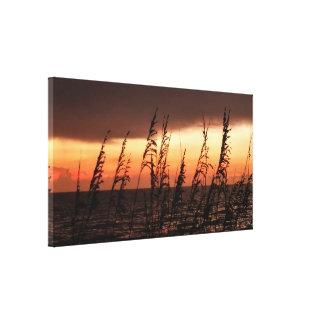 Impressão Em Canvas As gramas do por do sol do oceano esticaram o