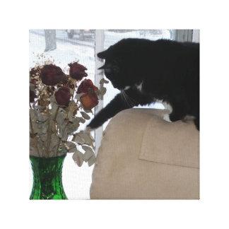 Impressão Em Canvas As verificações do gato do smoking para fora