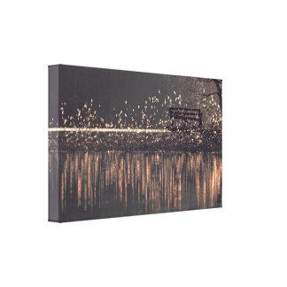 Impressão Em Canvas Banco só pelo lago na luz dourada