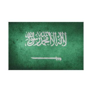 Impressão Em Canvas Bandeira afligida vintage de Arábia Saudita