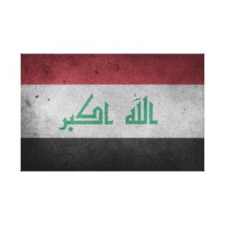 Impressão Em Canvas Bandeira afligida vintage de Iraque