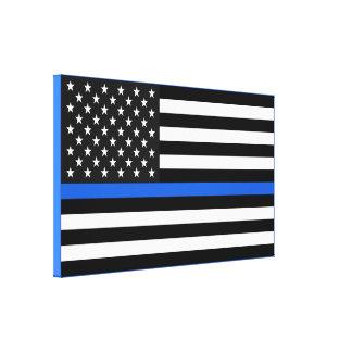 Impressão Em Canvas Bandeira americana fina de Blue Line