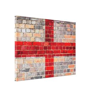 Impressão Em Canvas Bandeira de Inglaterra em uma parede de tijolo