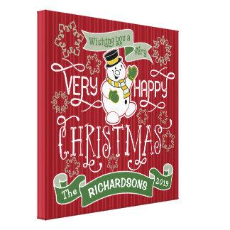 Impressão Em Canvas Bandeira do costume da tipografia do Natal feliz