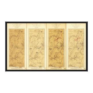 Impressão Em Canvas Batalha do campo de Gettysburg do mapa de